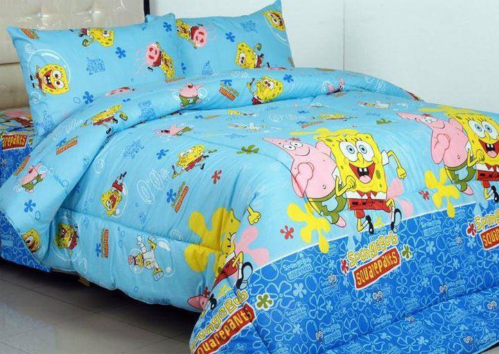 Sprei SPong Bob Anak karakter penghiasa kamar tidur balita