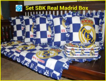 Sarung Bantal Kursi dan Taplak Meja Tamu Keropi, Hello Kitty, Polos Real Madrid