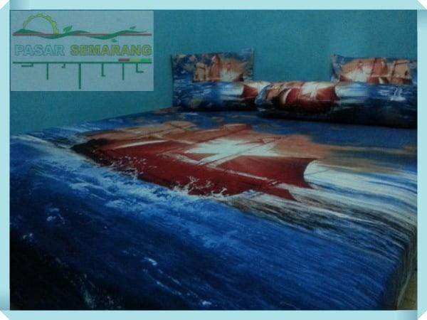 Toko jual sprei katun jepang warna biru motif kapal phinisi