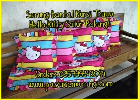 Jual sarung bantal kursi taplak hello kitty Jual Kurung bantal hello kitty Salur Pelangi