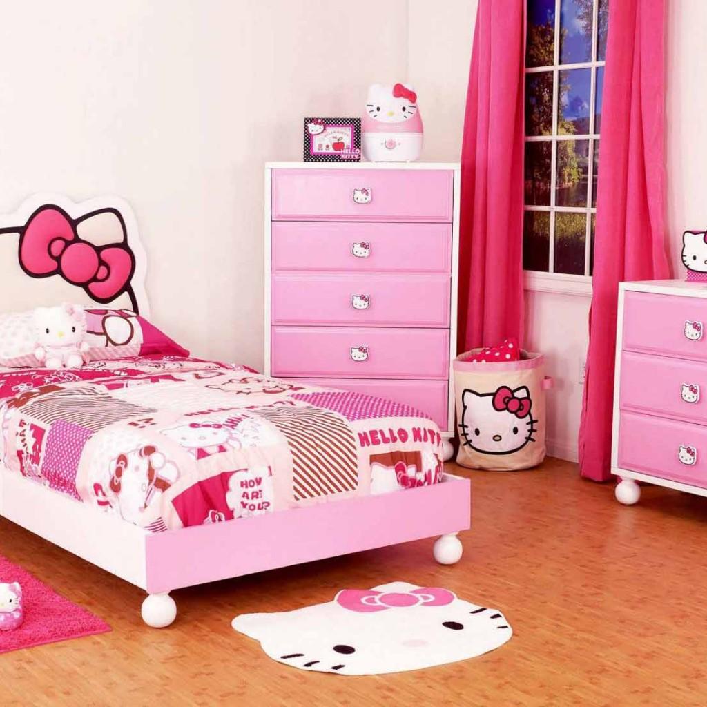 desain interior kamar anak motif hello kitty - pasarsemarang