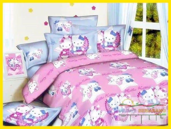 jual bedcover katun jepang jual sprei katun jepang halus hello kitty NON PANEL HK STAR PINK BIRU