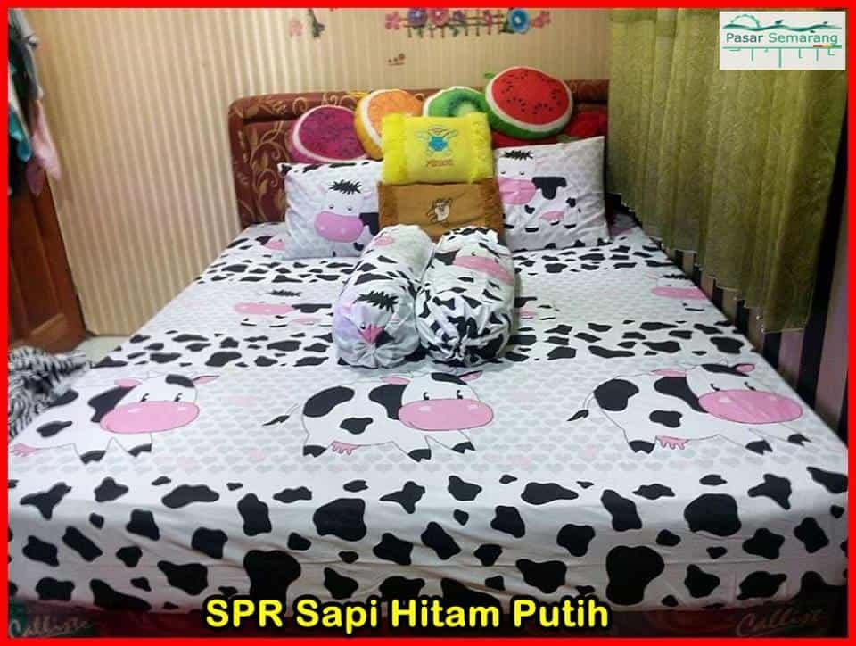 jual sprei motif sapi hitam putih, toko sprei motif sapi, produk lucu motif sapi
